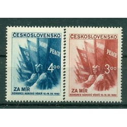"Czechoslovakia  1952 - Mi. n. 774/775 - Flags ""World Congress for Peace"""